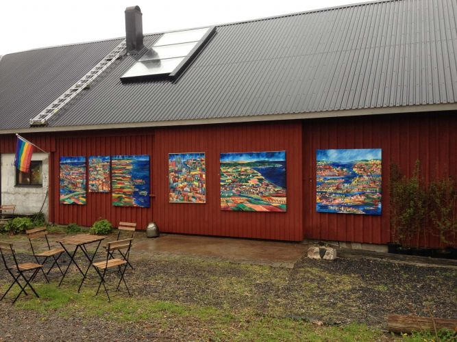 During open studio, paintings on the barn